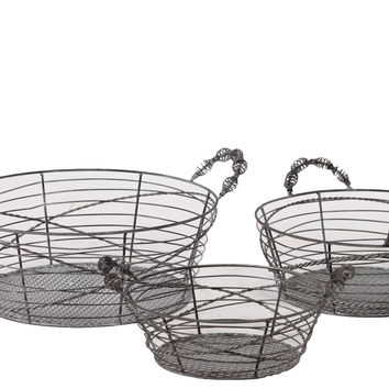 Oval Shaped Elegantly Wired Metal Basket Set of Three Attached w/ Two Side Handle Ea