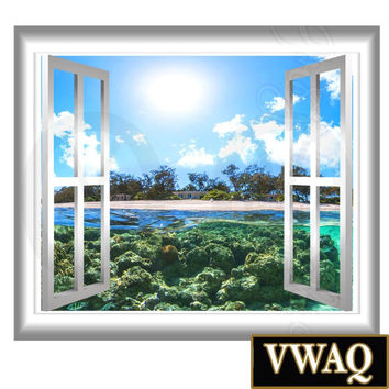 Underwater Beach Scene Window Graphics View Wall Decal Wall Mural Coral Reef VWAQ® GJ98