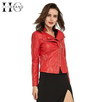 HEEGRAND 3 Colors Plus Size 3XL Spring Slim Solid Faux Leather Jacket Women Stand Collar Full Sleeve Coat Suede WWP144