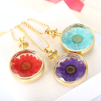 Handmade Vintage Jewlery Silver Gold Plated with Dried Press Flower Daisy Shaped Pendant Necklace for Women Wedding Gift