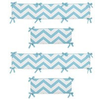Sweet Jojo Designs Chevron Crib Bumper in Turquoise and White