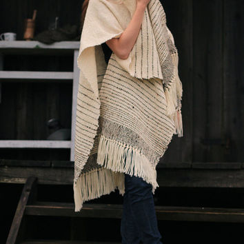 Ruana Wrap, Cape Poncho, Cloak wool poncho, Undyed wool handwoven wrap by Texturable