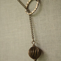 Handmade Antiqued Brass Lariat Necklace with Corrugated Round and Hammered Oval