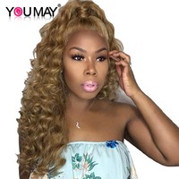 Deep Wave Blonde Lace Front Human Hair Wigs With Baby Hair 250% Density Brazilian Human Hair Color 27 Wig You May Remy