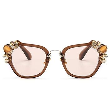 Miu Miu Trending Ladies Stylish Delicate Crystal Summer Sun Shades Eyeglasses Glasses Sunglasses Coffee Frame I-8090-YJ