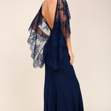Amelie Navy Blue Lace Maxi Dress