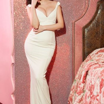 The Laura Byrnes Gilda Gown in Ivory Velvet