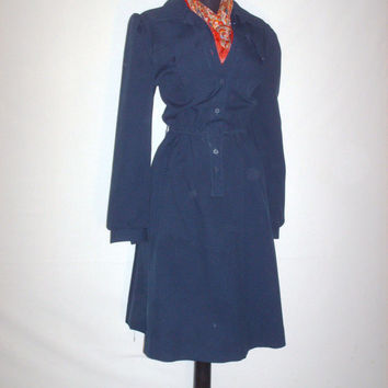 Vintage 1970s Navy Blue Simple Collar Dress