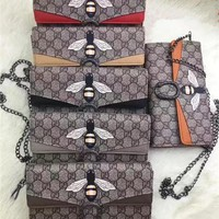 """Gucci"" Retro Double G Letter Bee Print Metal Chain Single Shoulder Messenger Bag Women Fashion Clutch Small Square Bag"