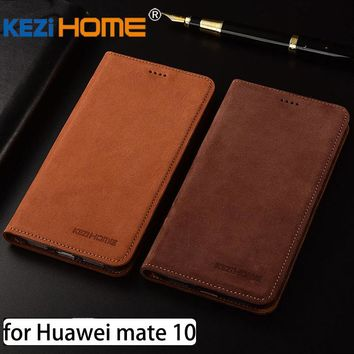 for Huawei Mate 10 case Flip matte genuine leather soft TPU back cover for Huawei mate10 coque