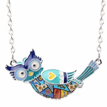 Women's Colorful Blue Owl Pendant Charm Necklace