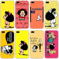 Mafalda Transparent Hard Thin Case Cover For Apple iPhone 4 4S 5 5S SE 5C 6 6S 7 8 X Plus