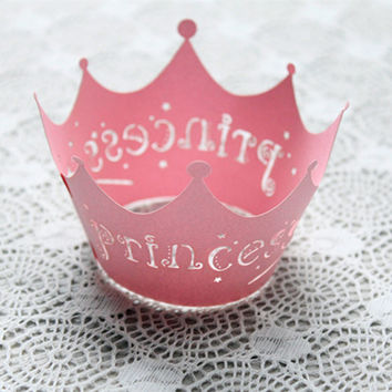 12Pcs/set Princess Crown Design Style Paper Vine Lace Cup Cake Wrappers Party Birthday Decoration