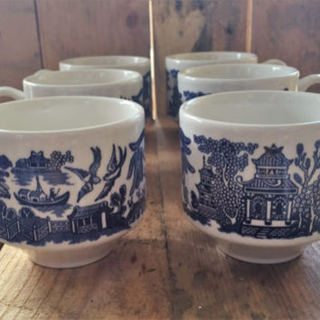 Six (6) Vintage 1960s Churchill Blue Willow Footed Coffee Mugs / Tea Cups / Made in England / Ironstone Mugs / Blue Willow Print