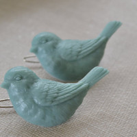 Blue Bird Barrettes, Robin Blue Hair Pins, Pair Spring Sparrow Hair Barrettes