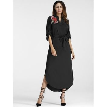 Black Stand Collar Long Sleeve Floral Print Shift Dress