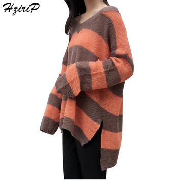 HziriP Women Loose Pullovers Knitted Sweaters Striped 2017 New Arrival Autumn V-neck Long Sleeve Knitwear Fashion Clothing