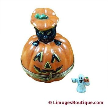 Jackolantern w a Black Cat Halloween Rochard Limoges Boxes LIMOGES BOX
