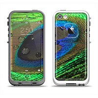 The Watered Neon Peacock Feather Apple iPhone 5-5s LifeProof Fre Case Skin Set