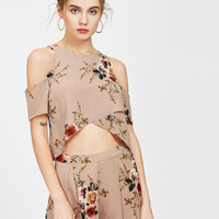 Apricot Florals Open Sholder Crop Spit Top With Shorts -SheIn(Sheinside)