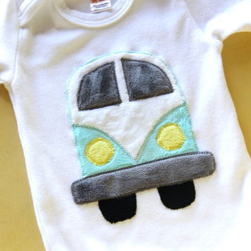 Vintage Bus Onesuit, Old School Bus Onesuit, Bus Onesuit, Happy Camper Onesuit, Gender Neutral Baby Onesuit