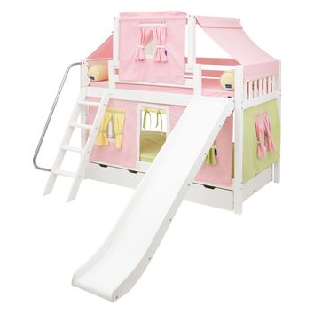 Laugh Girl Twin over Twin Slat Slide Deluxe Tent Bunk Bed | www.hayneedle.com