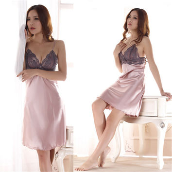 Ladies Imitated Silk Braces Dress Lace Sleepwear Nightgown Nightwear