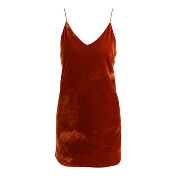 Women Spaghetti Strap Velvet Dress Plunging V-Neck Backless Short Dress Self-Tie Strap Curve Hem Sexy Mini Dress PinkOrange SM6