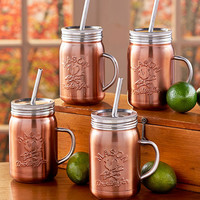 Set of 4 Copper Mason Jar Mugs for the Home