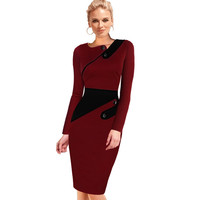 Vfemage Womens New Vintage Pinup Rockabilly Elegant Wear To Work Business Casual Tunic Bodycon Sheath Pencil Dress 497