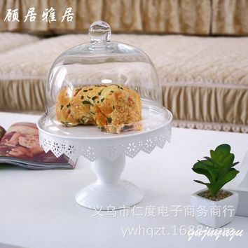 C Iron glass ornaments wedding fruit bowl creative home accessories Coffee cake pan Decoration