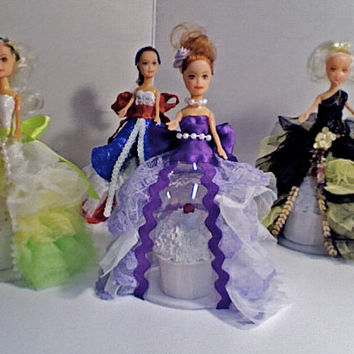 Dolly Dress up Domes! ...(set of 4) prom doll mini cupcake domes!