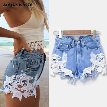 High Waist Lace Hot Shorts 2018 Summer Women's Beach Resort Bohemia Short Jeans Hole Washed Street Denim Shorts Female