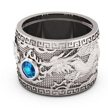 Topaz Dragon White Gold Wide Band Mens Ring Light Blue Ring Gift for Man Large Engraved Heavy Ring Unique Ring Engagement Ring Wedding Ring