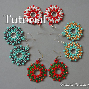 "Beadweaving tutorial for ""Juicy summer"" earrings / Beading tutorial / Earring tutorial / Beading pattern / Superduo tutorial / TUTORIAL ONLY"