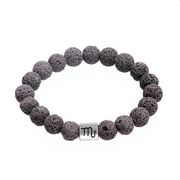 Zodiac Constellation Signs Nature Lava Stone Beads Bracelet Essential Oil Diffuser