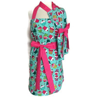 Cupcake Apron Set with hot pink ties for Mother Daughter - Teal and Pink Mommy and Me Matching Apron Set for Women and Children