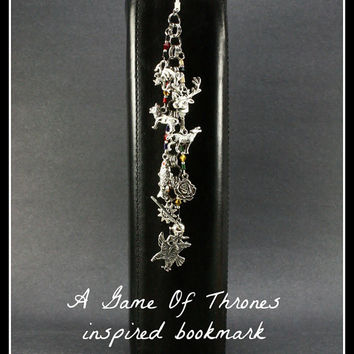 A Game of Thrones Inspired Bookmark - 9 Charms with hand crafted beading and wire work - A Song of Ice and Fire