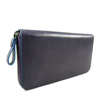 Baimiao Purple Leather Zip Around Wallet