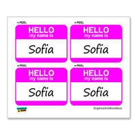 Sofia Hello My Name Is - Sheet of 4 Stickers