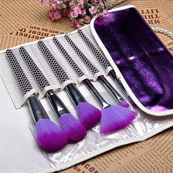 Professional 16Pcs Purple Makeup Brushes Cosmetic Brush Set with Leather Case, Drop Shipping