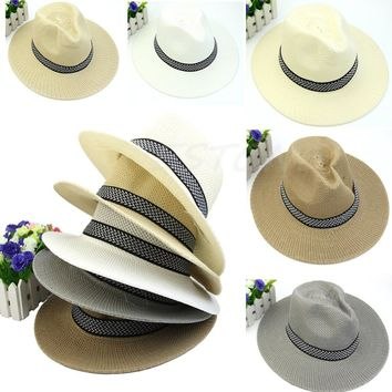 Chic Women Mens Summer Fedora Trilby Panama Straw Hat Beach Sunhat Gangster Cap