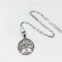 Tree of Life with Triquetra Necklace Sterling Silver Tree of Life Pendant 925 Silver Triquetra Necklace Dainty Celtic Trinity Knot Necklace