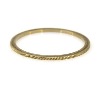 Thin Stackable Solid Gold Band Ring with Ridged Profile, Vintage, 1930s to 1980s