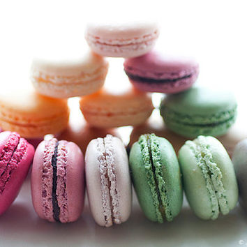 Paris Food Photography - Pink and Green French Macarons, Colorful Travel Photography, Wall Decor