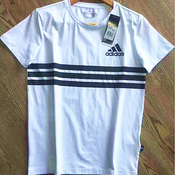 """Adidas"" Print Three Stripe Casual Short Sleeve Shirt Top Tee Blouse G-A-XYCL"