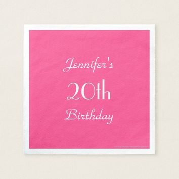 Hot Pink Paper Napkins, 20th Birthday Party Napkin