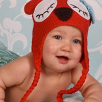 Red Owl Knit With Blue Ear Crochet Baby Hat - LAST CALL - CCN17