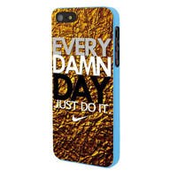 Every Damn Day Gold Metalm iPhone 5 Case Framed Blue