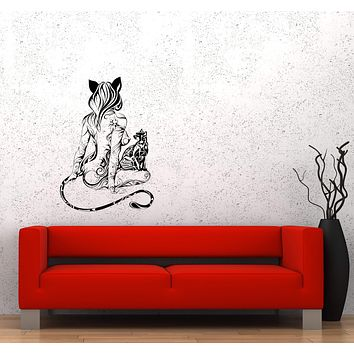 Wall Decal Naked Girl Nature Beautiful Sexy Cat Animal Ornament Vinyl Sticker Unique Gift (ed743)